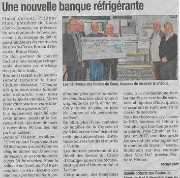 07/12/2017 – Nouvelle banque réfrigérée pour les Restos du Coeur