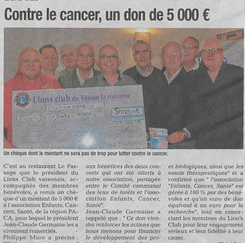 07/12/2017 – Contre le cancer, un don de 5000€