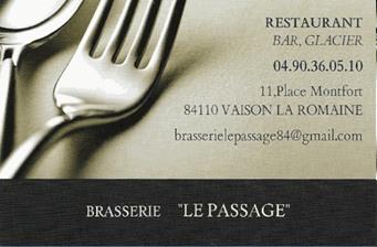 Brasserie Le Passage - Partenaire Lions Club de Vaison la Romaine